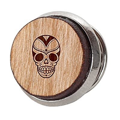 Sugar Skull Stylish Cherry Wood Tie Tack- 12Mm Simple Tie Clip with Laser Engraved Design - Engraved Tie Tack Gift