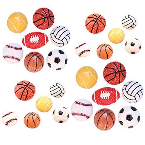 26Pack Assorted Sport Ball Charms Basketball Football Tennis Baseball Volleyball Resin Flatback Beads for Craft Making Miniature Fairy Garden Accessories Scrapbooking Phone Case -