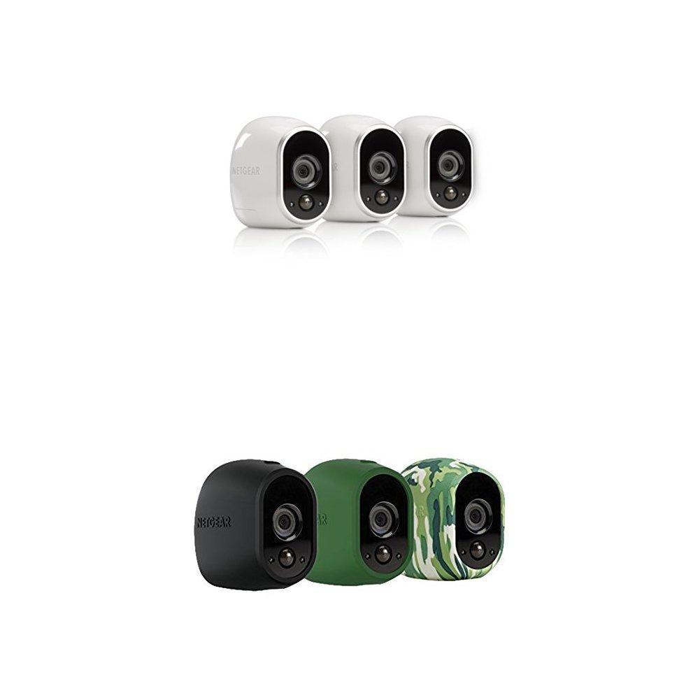 NETGEAR Arlo Smart Security System – Camera Skins, Set of 3, Black/Green/Camo (VMA1200-10000S) Netgear Inc