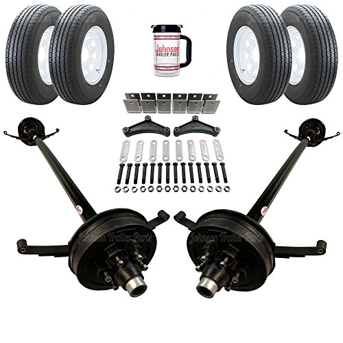 Rockwell American Tandem 5,200 lb Electric Brake Trailer Axle Kit - Includes Trailer Tires & Wheels (95