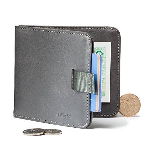 Distil Union Wally Euro Slim Leather Wallet Money Clip Coin Pocket (Slate with Flexlock) (Money Clip Euro)