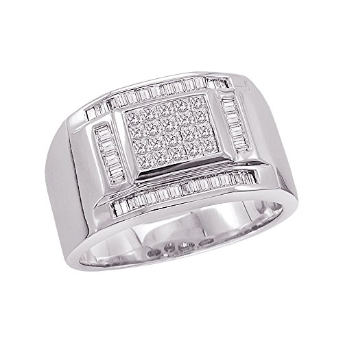 KATARINA Baguette and Princess Cut Diamond Men's Ring in Sterling Silver (3/4 cttw, G-H, VS2-SI1) (Size-10.75)