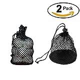 HUELE 2 PCS Nylon Mesh Nets Bag Pouch Golf Tennis 12 Balls Carrying Holder Storage(S)