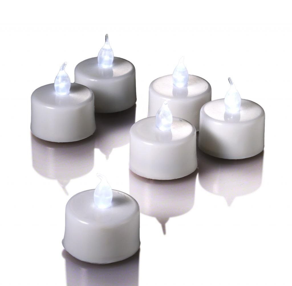 Set of 72 White Richland Flameless LED Tealights and Set of 72 Eastland Grande Frosted Hurricane Votive Holders