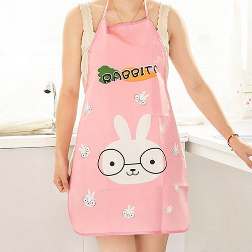 [NEWWomen Cute Cartoon Waterproof Apron Kitchen Restaurant Cooking Bib Aprons (Pattern: Bunny) N@N] (Farmer Girl Costume Images)