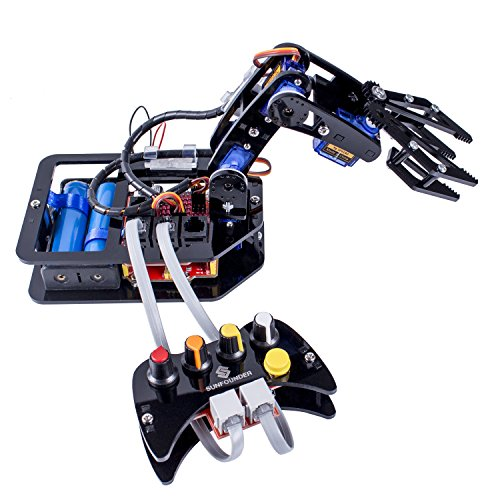 SunFounder DIY Robotic Arm kit 4-Axis Servo Control Rollarm with Wired Controller for Arduino Uno R3