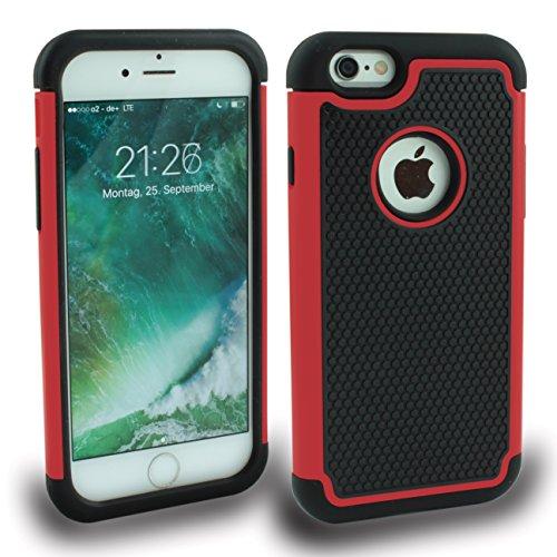 iPhone 6(4,7) Outdoor Cover Cover bumper Coque hybride Cro Film de protection d'écran d'écran Noir Black Red Rouge