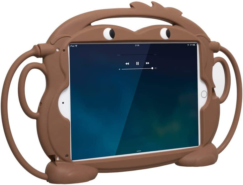 Sileu Funda Tablet e iPad Carcasa de Silicona para Niños - Resistente a Golpes y Caídas, Irrompible - Se Puede Colgar del Reposacabezas del Coche - Mono Marrón - Universal, 9.7 Pulgadas