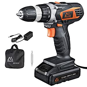 """Cordless Drill, 20V Cordless Drill Driver with 1.5Ah Batteries, Fast Charger 1.3A, 18+1 Torque Setting, 2-Variable Speed Max Torque 250 In-lbs, 3/8"""" Keyless Chuck"""