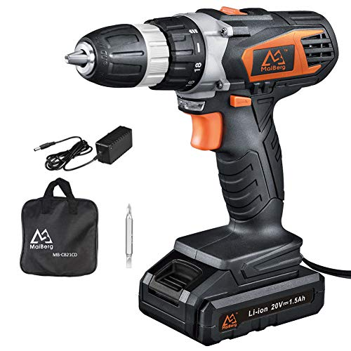 Cordless Drill, 20V Cordless Drill Driver with 1.5Ah Batteries, Fast Charger 1.3A, 18+1 Torque Setting, 2-Variable Speed Max Torque 250 In-lbs, 3/8″ Keyless Chuck