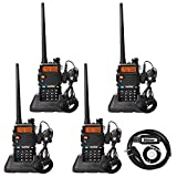 BaoFeng UV-5R Dual Band Two Way Radio (4 Pack) UHF/VHF 136-174/400-520 MHz FM Transceiver Ham Amateur Radio Walkie Talkies with Headsets and Programming USB Cable (Mysterystone Customize)