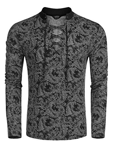 - 51mlAs DSmL - COOFANDY Men's Paisley Henley Shirt Printed Long Sleeve Slim Fit Party Casual Lace-up Floral T Shirt