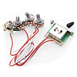 2T1V Electric Guitar 500K Pots Control Knobs 5-Way Switch with Jack Wiring Harness Kit for Strat Style Guitar Replacements, Black Cap