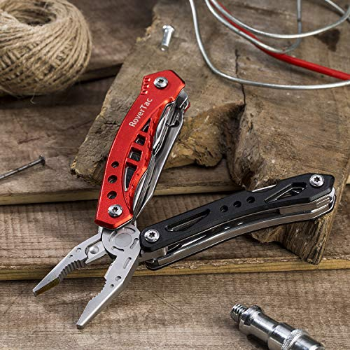 12 in 1 Multi tool Pliers RoverTac Pocket Knife with Durable Nylon Sheath, Multitool with Pliers, Bottle Opener, Screwdriver, Saw-Perfect for Outdoor, Survival, Camping, Fishing, Hiking (red) by RoverTac (Image #4)