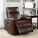 Christies Home Living Eli Collection Contemporary Leather Upholstered Living Room Electric Recliner Power Chair, Brown
