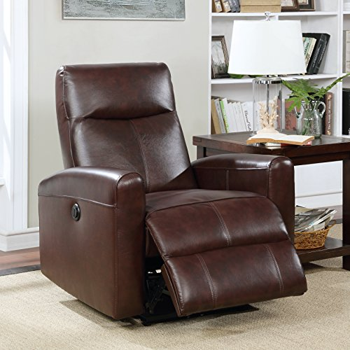 Christies Home Living Eli Collection Contemporary Leather Upholstered Living Room Electric Recliner Power Chair, Brown by Christies Home Living