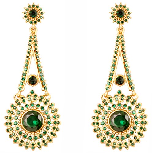 Touchstone Indian Bollywood Rhinestone / faux green emerald designer jewelry earrings for women in antique gold