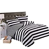 Black and White Duvet Set ZHIMIAN Microfiber Modern 2 Piece Reversible Duvet Cover Sets Black and White Contrast -1 Duvet Cover + 1 Pillow Shams(Twin Striped)