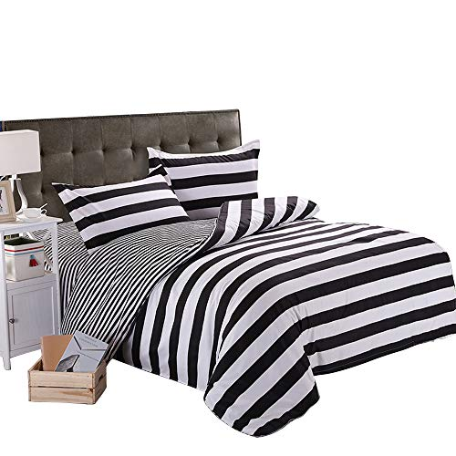 ZHIMIAN Microfiber Modern 3 Piece Reversible Duvet Cover Sets Black and White Contrast -1 Duvet Cover + 2 Pillow Shams(Queen Striped) (And Bed Striped Set White Black)