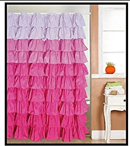 Amazon.com: Ruffled Multi-color Pink Fabric Shower Curtain: Home ...