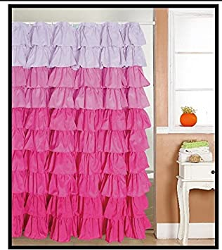 Ruffled Multi Color Pink Fabric Shower Curtain
