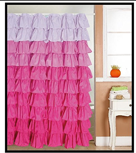 Ruffled Multi color Fabric Shower Curtain product image