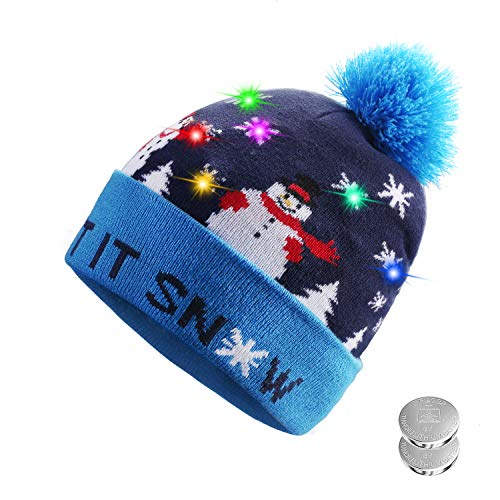 (TAGVO LED Light Up Hat Beanie Knit Cap, 6 Colorful LED Xmas Christmas Hat Beanie, Winter Snow Hat Sweater Ugly Holiday Hat Beanie)