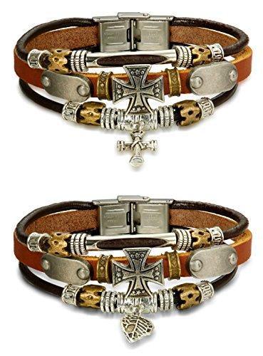 FIBO STEEL Leather Bracelet Multilayer