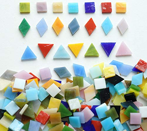 (Lanyani Mix Glass Mosaic Tiles Pieces for Crafts, Mixed Shapes and Colors,1.1lb Bulk, Opaque )