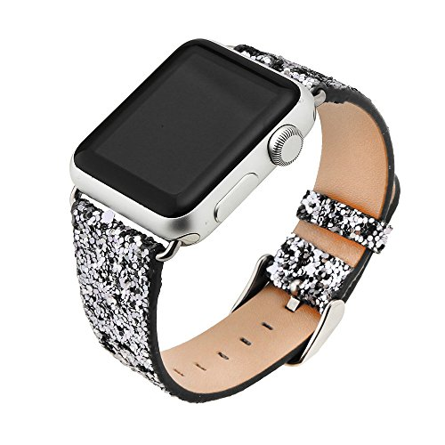Price comparison product image QIONGQIONG Iwatch / Apple Watch Strap Leather Bracelet with Metal Flash Stainless Steel Buckle for Iwatch Series 4 / 3 / 2 / 1,  40mm / 44mm / 38mm / 42mm, 40mm