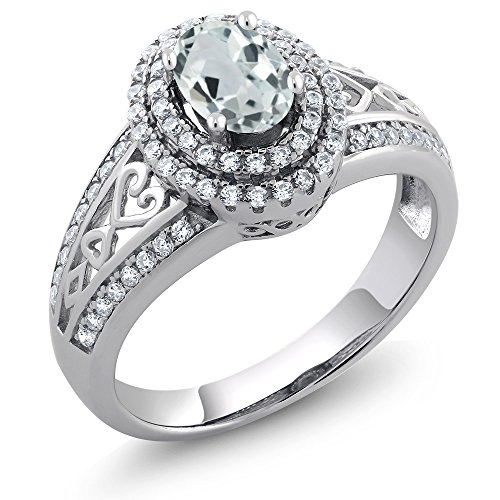 - Sterling Silver Sky Blue Aquamarine Women's Ring (1.29 cttw Oval Gemstone Birthstone Available 5,6,7,8,9) (Size 9)