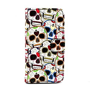 iPhone 5C Case, Colorful Skull Design Premium PU Leather Wallet Folio Protective Skin Case with Stand and Magnetic Closure for Apple iPhone 5C (2015) (Stand Function /Built-in Credit Card/ID Card Slot)