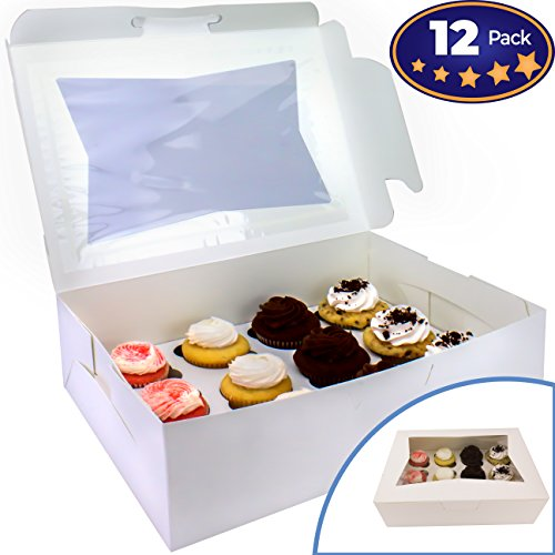 Pro-Quality Bakery Boxes for Cupcakes with Display Window and Cupcake Inserts 12 Pack. Each Recyclable, Bright White Box Displays 1 Dozen Cup Cakes. Ready to Customize for Your Fundraiser or Bake Sale (Cake Boxes Cardboard)