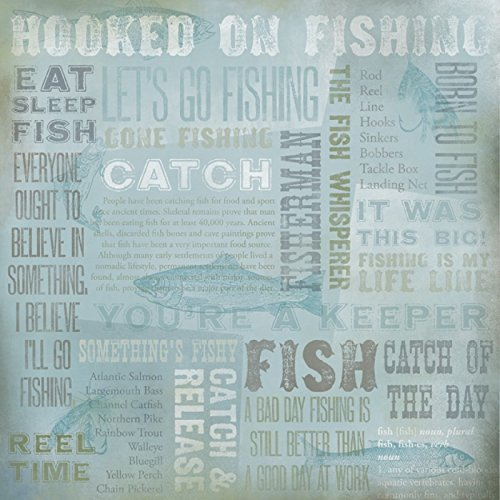 Home Trout Hooked - Karen Foster 64962 25 Sheets Hooked On Fishing Collage Scrapbooking Supplies