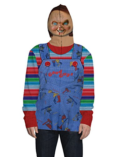 Faux Real Men's Chucky Full Face Zip Up Mask Hoodie, Multi, Large