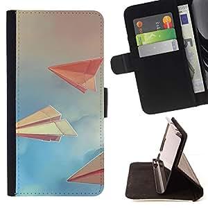 Momo Phone Case / Flip Funda de Cuero Case Cover - Art Paper Planes nubla el cielo Libro Azul - Sony Xperia Z5 5.2 Inch (Not for Z5 Premium 5.5 Inch)