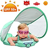 Preself Upgraded Baby Float Non-Inflatable Mambobaby Swim Ring, Infant Soft Solid Swimming Trainer, Baby Pool Float with Removable UPF 50+ UV Sun Protection Canopy