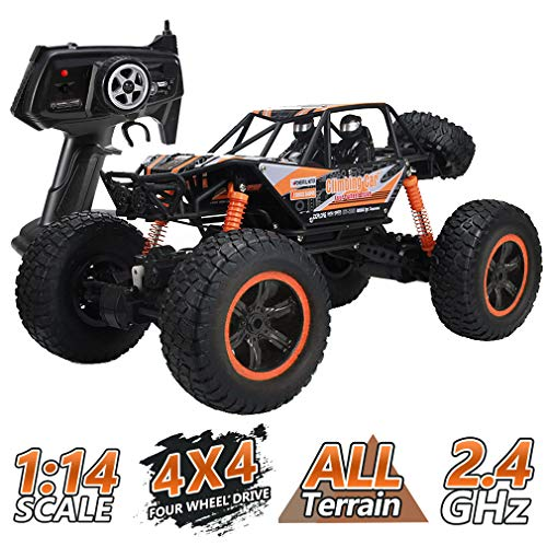 JDBABY Remote Control Car,1/14 Scale High-Speed Racing Climbing Car with 2.4Ghz 4WD, Off-Road Vehicle for Boys Kids Adults (Orange)