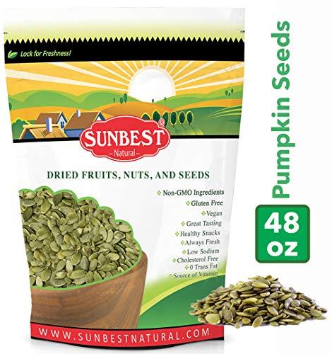 SUNBEST Shelled Unsalted Raw Pumpkin Seeds / Pepitas Raw, No Shell, Pumpkin Seed Kernels (Raw, 3 Lb) (Roasting Shelled Pumpkin Seeds In The Oven)