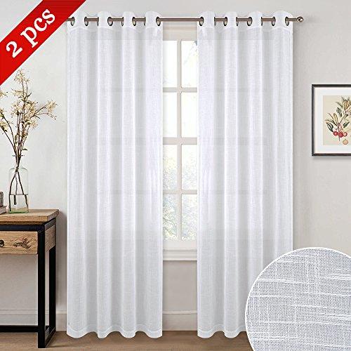 NICETOWN Semi-sheer Curtains for Living Room - Grommet Top Design Linen Textured Look Drapes for Bedroom/Studyroom/Sliding Door, 52