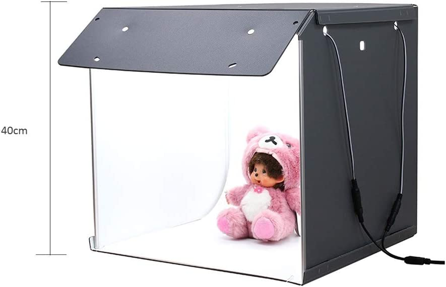 IhDFR Portable Photo Studio Box 1616inch One-Piece Structure Adjustable Brightness Light Box with 126 LED Lights 2 Colors Backdrops Professional Photography Shooting Tent