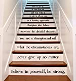 """(46"""" X 47"""") Vinyl Stairs Decal Quote Believe in Yourself, Be Strong / Inspirational Text Sticker / Art Decor Home Motivational Decals + Free Decal Gift"""