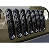 ICARS [Upgrade Clip in Version] Glossy Black Mesh Grill Insert Jeep Grille Guard for 2007-2015 Jeep Wrangler JK JKU Unlimited Rubicon Sahara - 7PCS
