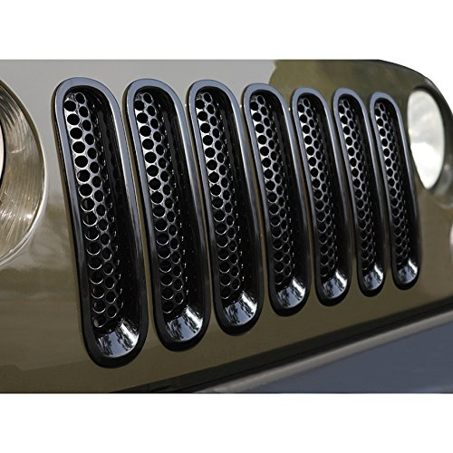 ICARS [Upgrade Clip in Version] Glossy Black Mesh Grill Insert Jeep Grille Guard for 2007-2015 Jeep Wrangler JK JKU Unlimited Rubicon Sahara - 7PCS ()