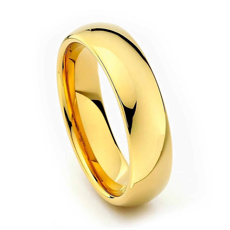 6mm Gold Tone Mens Tungsten Wedding Band