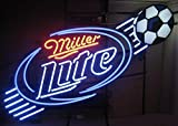 Miller Lite Soccer Football Neon Sign 24''X20'' Inches Bright Neon Light Display Mancave Beer Bar Pub Garage New