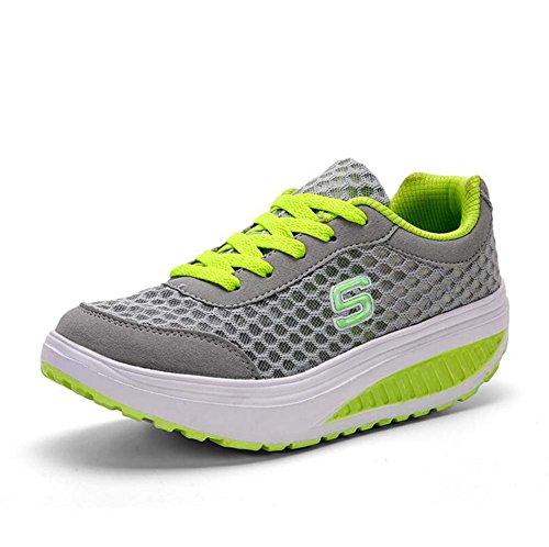 SHINIK Zapatos atléticos casuales para mujeres Zapatos de balancín transpirables Zapatos deportivos de primavera y verano Zapatos de suela gruesa coreana Talla 35-40 Rosado