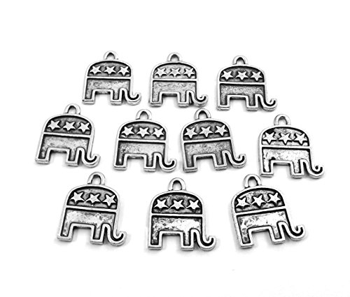 Set of Ten (10) Pewter Republican Elephant Political (Elephant Set Charms)