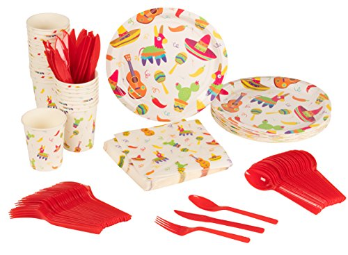 Disposable Dinnerware Set - Serves 24 - Mexican Fiesta Party Supplies for Birthdays, Cinco de Mayo - Includes Plastic Knives, Spoons, Forks, Paper Plates, Napkins, (Fiesta Party Plates)