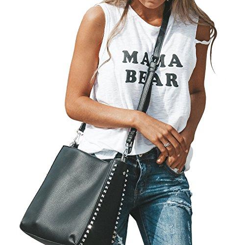 - Fancathy Women's Sleeveless Summer T Shirt Casual Loose Round Neck Shirt Tunics Cotton Letter Printed Tank Tops